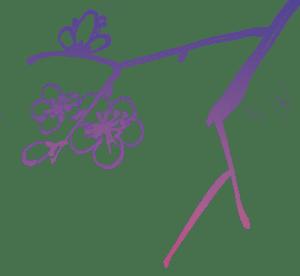 sumi-e Tuschzeichnung mit Kirschblüten